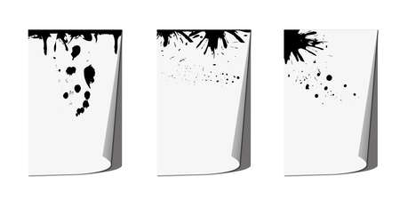 Page curl with shadow and ink blots, design element for advertising and advertising messages, isolated on a white background. Vector illustration.
