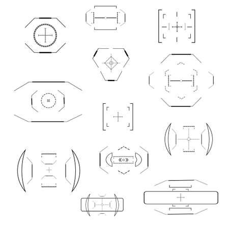 Futuristic optical aim. Military collimator sight, gun targets focus range indication. Sniper weapon target hud aiming modern accuracy crosshairs future weapon radar technology vector icons set