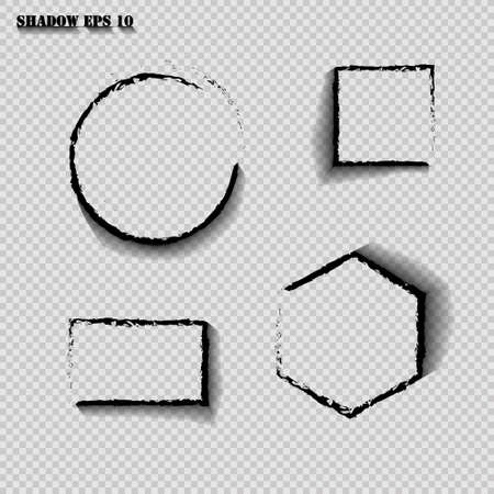 Vector shadows isolated. Set of round and square and rectangle and polygon shadow effects