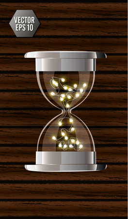 True transparent hourglass with glowing lights inside, isolated on wooden background. Simple and elegant hourglass timer. Clock icon 3d illustration Illustration