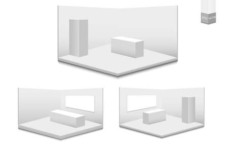 Set of 3D exhibition stands. White blank advertising stand with a desk. Vector white blank geometric square. Conference room presentation. Blank template