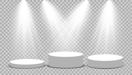 Round podium, pedestal or platform illuminated by spotlights on transparent background. Platform for design. Realistic 3D empty podium. Stage with scenic lights