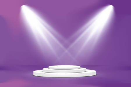 Dark Spotlight Catwalk Purple Blue Dance Floor Club Neon Lasers Fog Empty Garage Cyber Spaceship Underground 3D Rendering. 向量圖像
