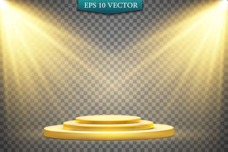 Round golden podium, pedestal or platform illuminated by spotlights on white background. Platform for design. Realistic 3D empty podium. Stage with scenic lights