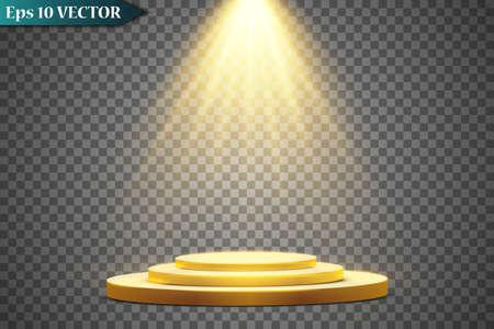 Round golden podium, pedestal or platform illuminated by spotlights on white background. Platform for design. Realistic 3D empty podium. Stage with scenic lights 矢量图像