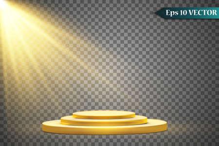 Round golden podium, pedestal or platform illuminated by spotlights on white background. Platform for design. Realistic 3D empty podium. Stage with scenic lights