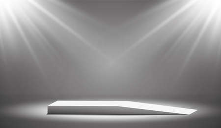 Round podium, pedestal or platform illuminated by spotlights on white background. Platform for design. Realistic 3D empty podium. Stage with scenic lights