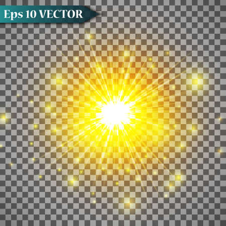 Set glow light effect with white sparks and golden stars shine with special light.White glowing light. Star Light from the rays. The sun is backlit. Bright beautiful star. Sunlight. EPS10. Illustration