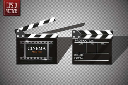 Online Cinema Background With Movie Reel And Clapper Board. Vector Flyer Or Poster. Illustration Of Film Industry. Template For Your Design Çizim