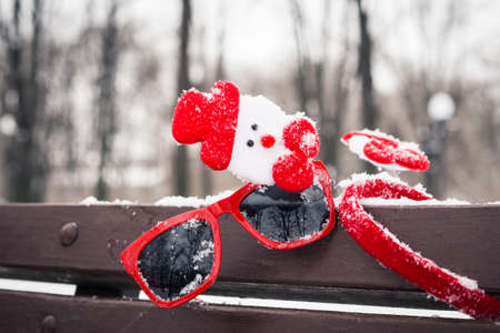 pinetree: Funny winter composition with red sunglasses, christmas accessories and a fragment of a pine-tree branch on a bench covered with snow