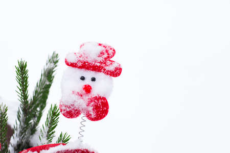pinetree: Funny winter composition with christmas accessories and a fragment of a pine-tree branch covered with snow on a white background. Not isolated.