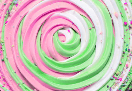 Colorful meringue texture background closeup. Festive and party concept. Minimal style. Top view