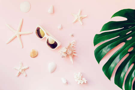 Summer composition with monstera leaf, sunglasses, starfishes and shells on pastel background. Vacation and travel concept. Abstract backdrop