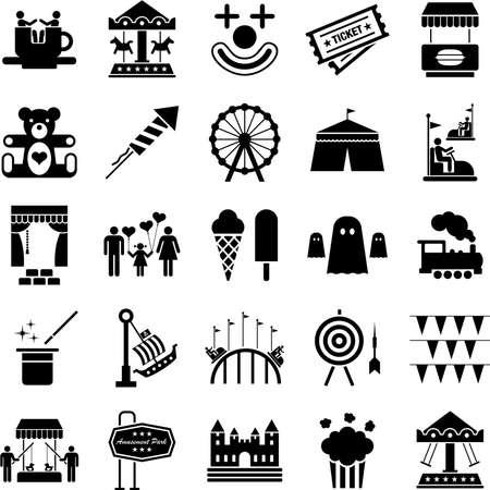 fei�ra: Ícones de um parque de diversões Ilustra��o