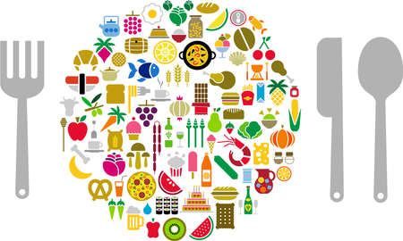 food and drink icons shaped sphere covered Vector