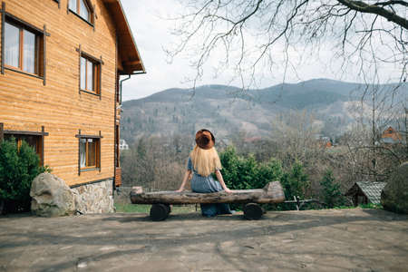 A girl on a wooden log admires the beauty of the mountains