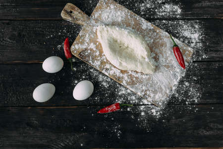 Homemade Ajarian khachapuri will be stuffed with raw egg and ghee. Fresh hot traditional Georgian boat-shaped cheese bread. Place for text. Reklamní fotografie