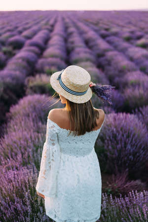 Young brunette in white dress poses in lavender field, view from behind