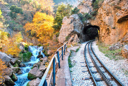Odontotos rack railway Diakopto –Kalavrita, under the shadow of Helmos mountain. About 120 years ago Odontotos rack railway started from the seaside town of Diakopto parallel to the river and climbed to Kalavrita through bridges and tunnels