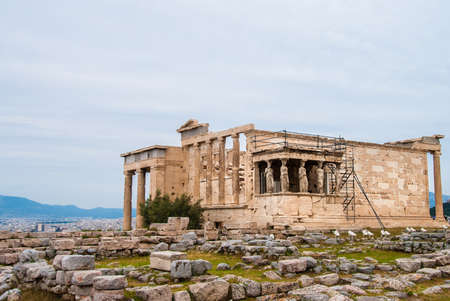 The Erechtheion or Erechtheum is an ancient Greek temple on the north side of the Acropolis of Athens in Greece which was dedicated to both Athena and Poseidon.