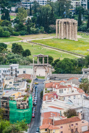 Aerial view of temple of olympian god Zeus in the center of the city of Athens Greece