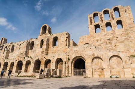 Facade of ancient theater Odeon of herodes in Greece