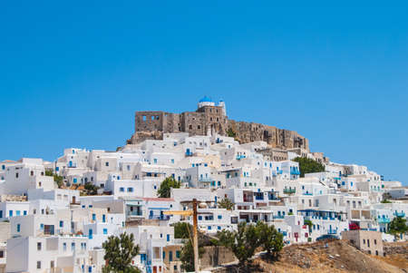 Panoramic view of Astypalaias castle. Astypalaia is an aegean island of Greece Editorial