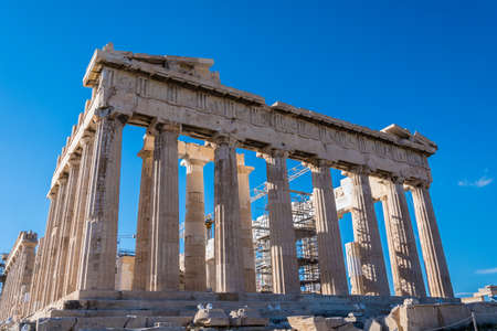 Parthenon temple on Acropolis in Athens Greece 스톡 콘텐츠