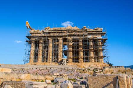 Parthenon temple on Acropolis in Athens Greece Stock Photo