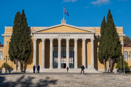 The Zappeion hall, a building in the National Gardens of Athens in Greece. It is a tribute to this great man who brought the Olympic Games back into the modern world. Having played the role of the off 報道画像