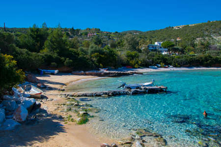 Isolated nudist beach in Ramnounda, located 65 kilometers from the center of Athens in Greece