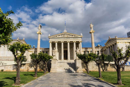 The Academy of Athens in Greece. The Academy is the most magnificent of all the neoclassical buildings that were constructed in Athens during the 19th century. Its design was inspired by the ancient Erechtheion at the Acropolis.