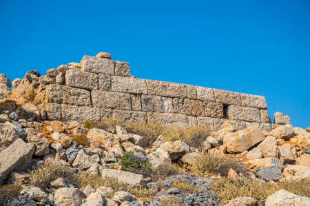 Preserved part of the great wall of the pirate castle (garrison) in Antikythera Greece. Stock Photo