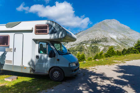 Camping with a motor home near the area of mountain Dirfi in Evia Greece Stock Photo - 100752341