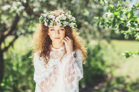 girl beauty nature spring flowers