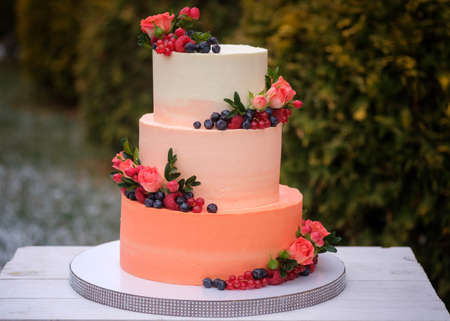 large wedding cake in three tiers of peach color with natural berries and flowers on a green background