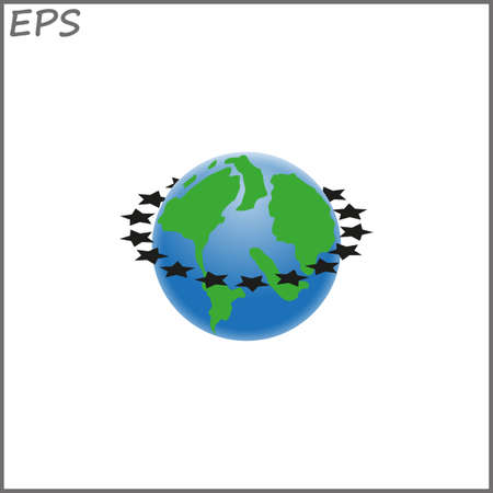 planet earth with stars, vector illustration