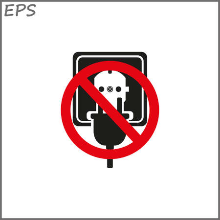 Socket with electric plug,  black vector illustration