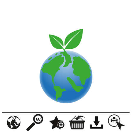 Planet earth icon on white background.