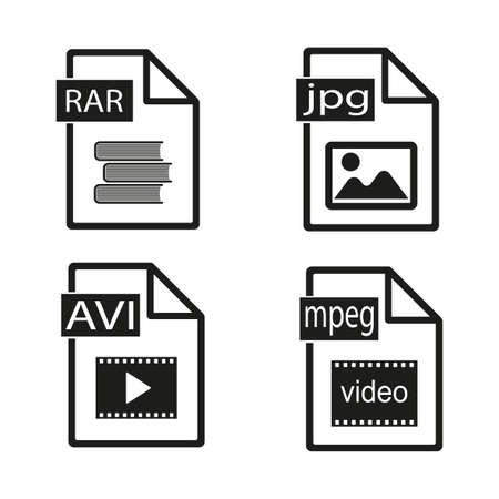 Set of file icons on white background. Illustration