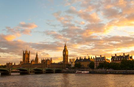 Golden Big Ben and London Skyline