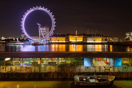 View over London with the River Thames, Millennium Wheel and London County Hall