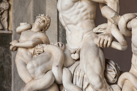 warned: Roman statue of  Laocoon and his sons  in Vatican museum  Laocoon was a Trojan priest of Poseidon who warned against the Trojan Horse from the greeks