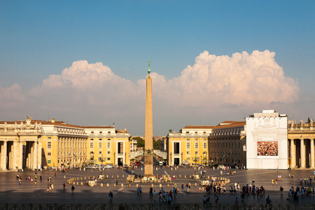 bernini: St  Peter s Square from St  Peter s Basilica in Vatican City State  Rome, Italy  Editorial