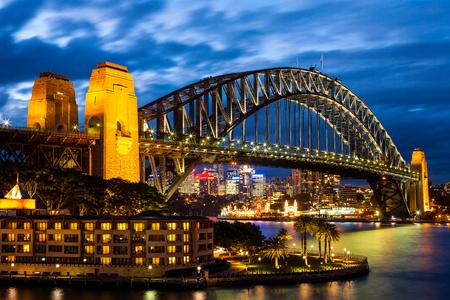 ports: Sydney Harbour Bridge al Blue Night Archivio Fotografico