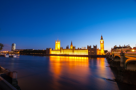 Big Ben with the Houses of Parliament at night in London  photo