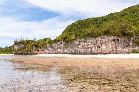 guam: Bizarre cliff in Ritidian beach, Guam Stock Photo