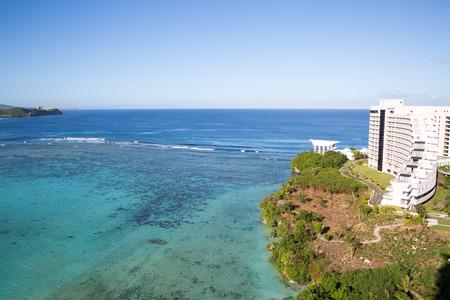 guam: Guam, USA - December 07, 2014 : Exterior of Hotel Nikko Guam with beautiful Tumon Bay in Guam. Editorial