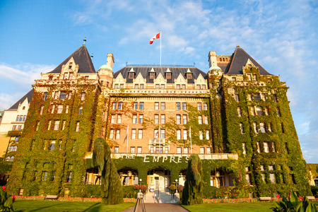 empress: Victoria, British Columbia, CANADA - September 17, 2011 : The facade of the historic Empress hotel in Victoria, British Columbia, CANADA