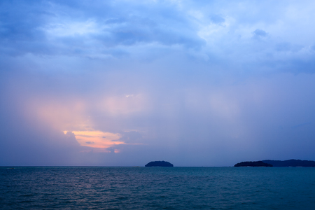 crepuscular: Sun Rays over the crepuscular sea, dramatic sunset while blue hour.